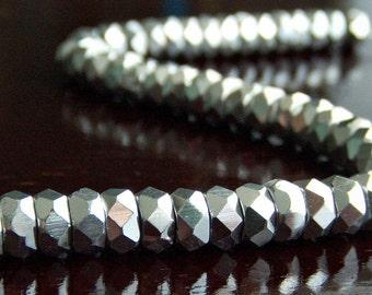 Czech Glass Bead Metallic Silver 6x3mm Rondelle :  25 pc Silver Beads