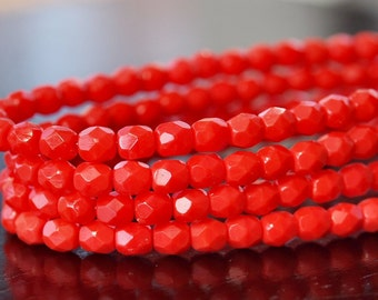 Coral Czech Glass Faceted 4mm Round - 7 inch strand 4mm Coral Bead
