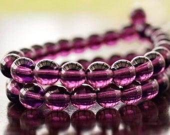 Czech Glass Bead 8mm Amethyst Round Druk : 25 pc
