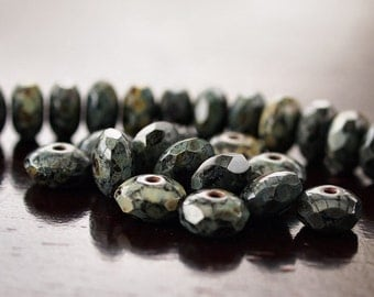 Czech Glass Bead Jet Picasso 7x5mm Faceted Rondelle : 25 pc Black Gemstone Donut