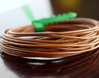 1.5mm Round Leather Cord Light Brown : 15 Feet Genuine Leather Cord