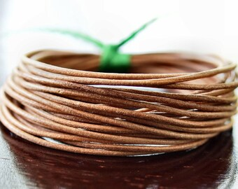 1.5mm Round Leather Cord Natural : 15 Feet Genuine Leather Cord