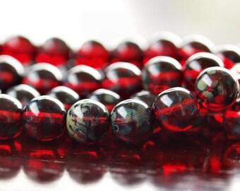 8mm Czech Glass Bead Ruby Picasso Round Druk : LAST 25 pc