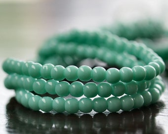 Turquoise Green Czech Glass Bead 3mm Round Druk :  100 pc