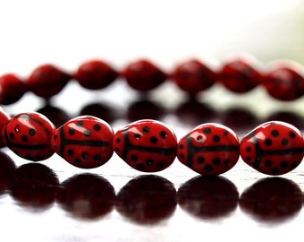 Czech Glass Bead 9x7mm Opaque Red Ladybug :  25 pc Czech Red Bead