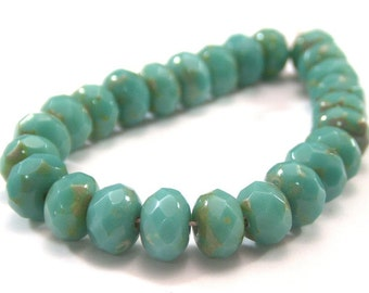 Turquoise Picasso 7x5mm Czech Glass Bead Gemstone Donut :  25 pc