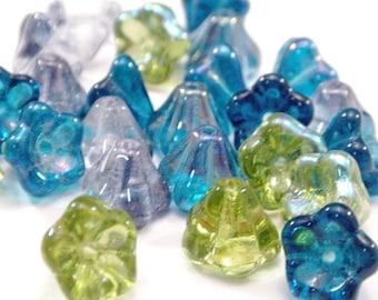 Czech Glass Bead Mix 8x6mm Blue Green Bell Flower - 24