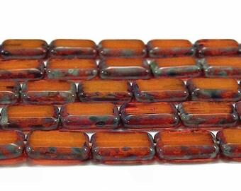 Czech Glass Bead Rectangle Opal Orange Picasso : 12 Orange Rectangle Beads