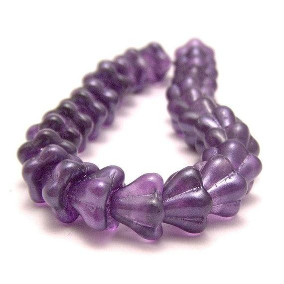 Glass Bead Purple Salvia Czech 8x6mm Bell Flower : 25 pc
