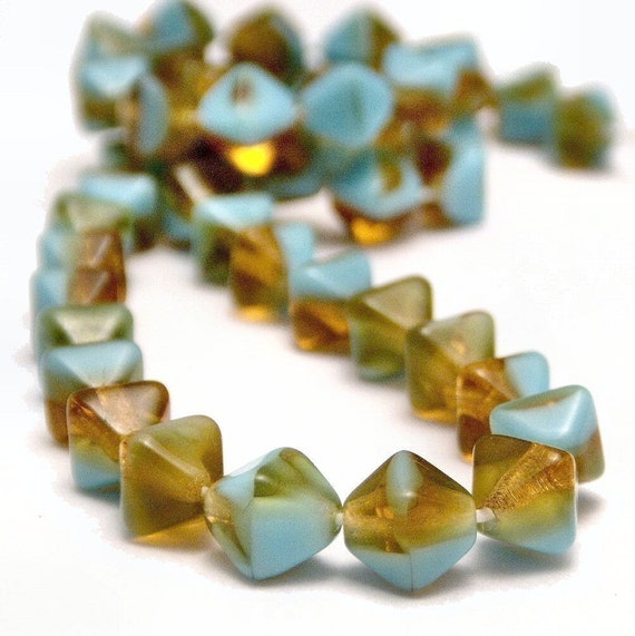 Czech Glass Bead Turquoise Blue and Topaz 6mm Bicone - LAST 15 pc