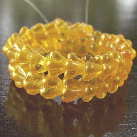 Satin Buttercup Czech Glass 4x6mm Baby Bell Flowers - 25