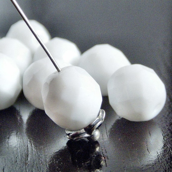 White Alabaster 10mm Czech Glass Bead Faceted FP Round : 10 pc