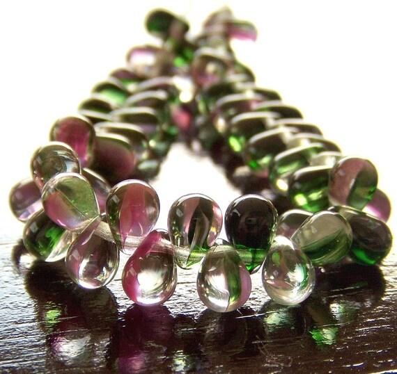 Pink Crystal Green Czech Glass 4x6mm Teardrop - Last 25