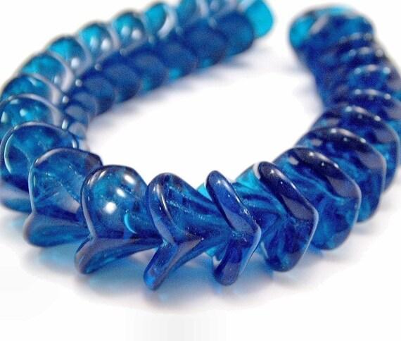 Capri Blue Czech Glass Bead 10x12mm Three Petal Flower - LAST 12