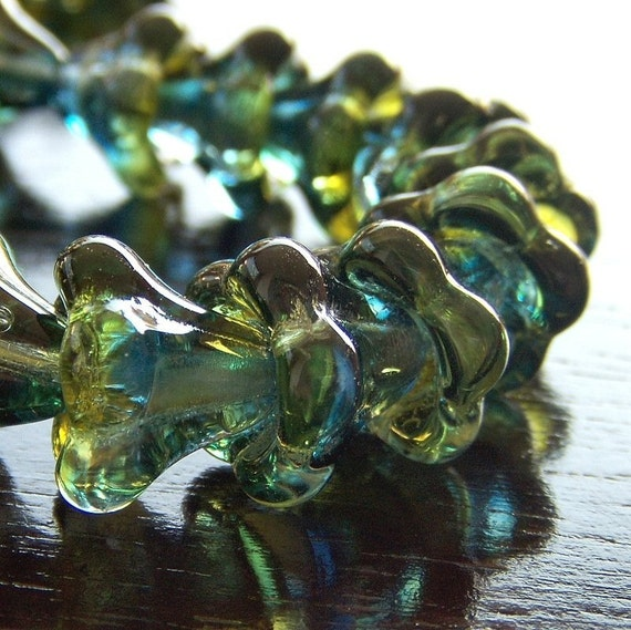 Olive Capri Czech Glass Bead Two Tone 11x13mm  Large Bell Flower - Ten