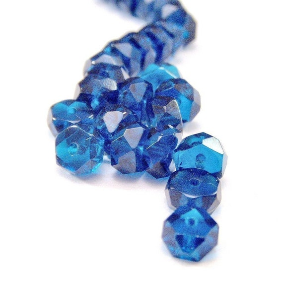 Czech Glass Bead 6x3mm Capri Blue Rondell : LAST 25 pc