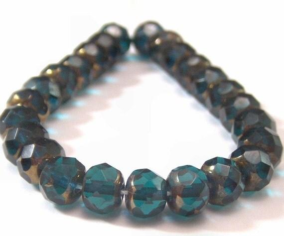 Emerald Copper Gemstone Cut 4x6mm Czech Glass Donut - 25