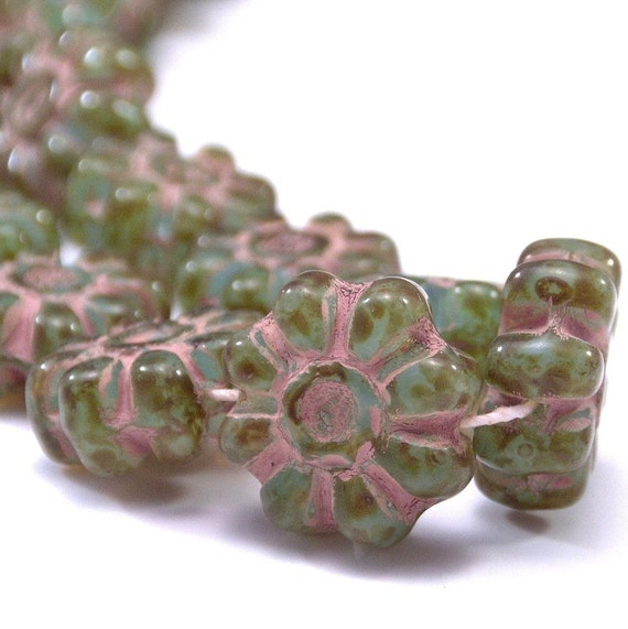 Czech Glass Bead Marbled Sapphire Green Picasso  12mm Daisy Flower -  LAST 6