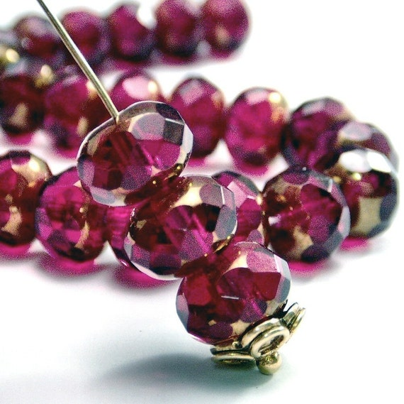 Czech Glass Bead Fuchsia Copper 9x6mm Faceted Rondelle : LAST 6 pc Pink Gemstone Donut
