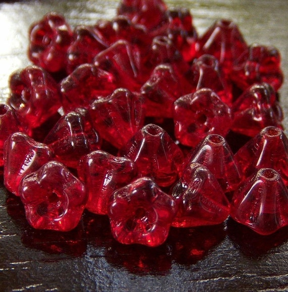 Light Garnet Czech Glass 4x6mm Baby Bell Flower - 30