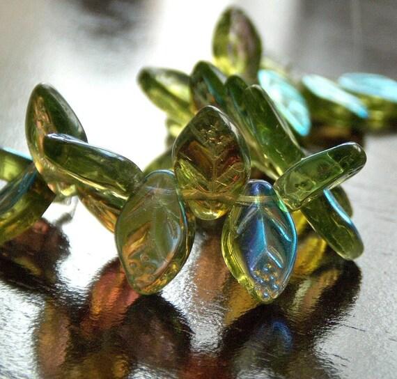 Czech Glass Bead 12x7mm Olivine AB Leaf  -  25 pc