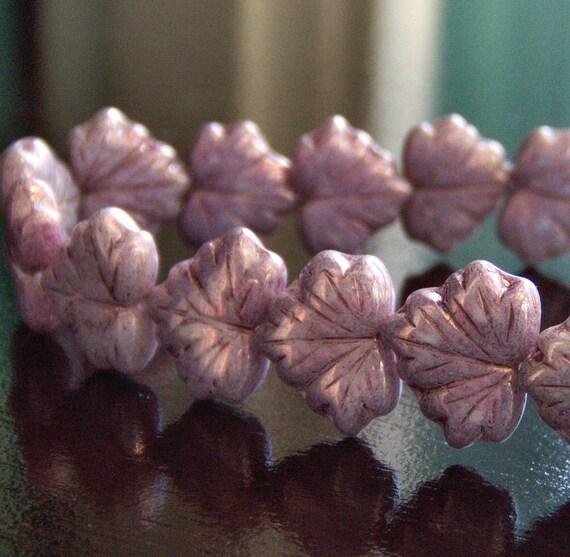 Lilac Czech Glass Maple Leaf Bead - 10 pc