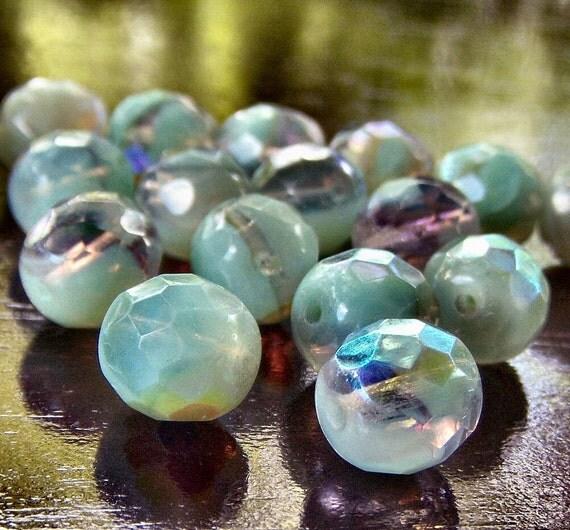 Czech Glass Bead Laguna Sea Opal AB 10mm Faceted FP Round - 10
