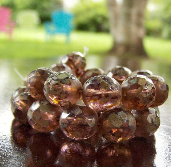 Light Amethyst Picasso 10mm Czech Glass Faceted FP Round Bead : LAST 8 pc