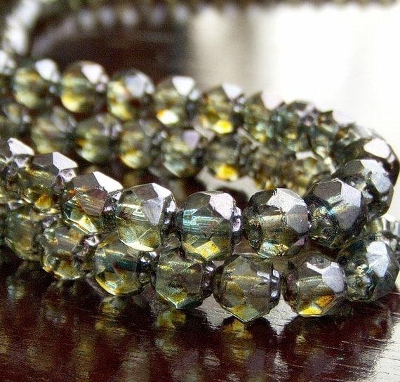 Czech Glass Bead Green Luster 6mm Renaissance - 25 Czech Beads