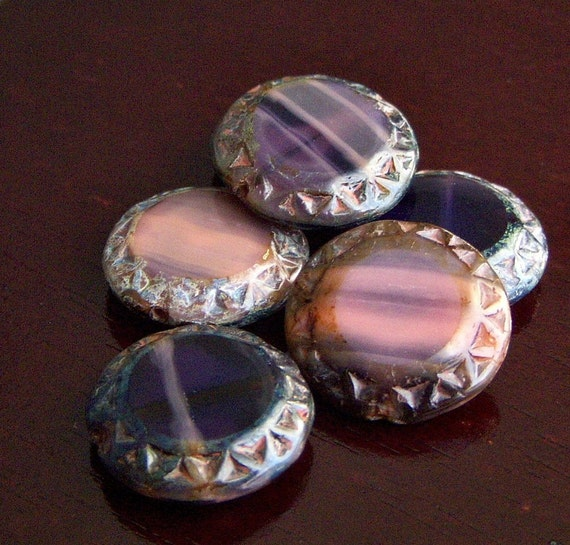 Heavenly Czech Glass Chunky Bead 16mm Picasso Coin : 6 pc