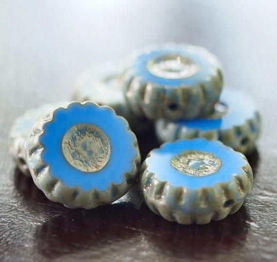 Cornflower Blue 12mm Czech Glass Coin Picasso Bead  :  LAST 8 pc