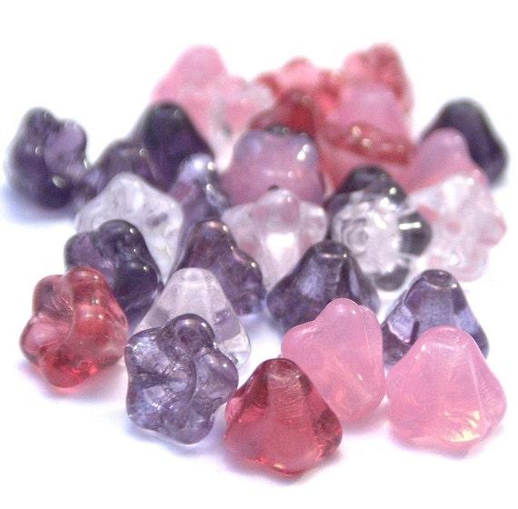 Czech Glass 4x6mm Baby Bell Pink\/Purple Mix - 30