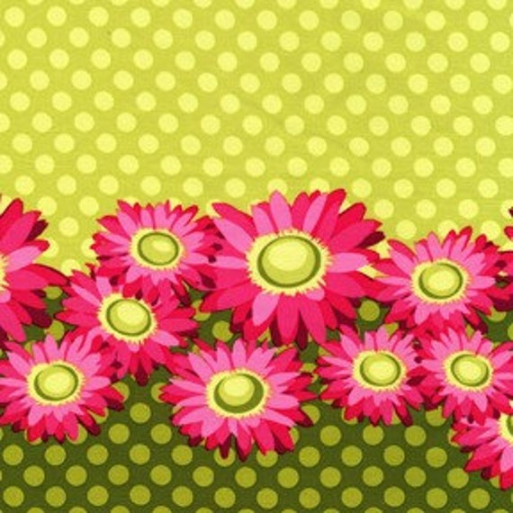 Patty Young Flora Fauna Daisy Border Lime 1 Yd