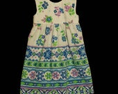 Purple Green and Blue Floral Dress - Size 2T