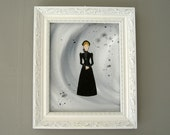 victorian mourning lady | original art | gothic | black | victorian gothic | goth | victorian woman | folk art | belle epoch | stylized