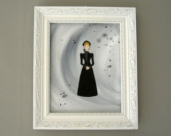 victorian mourning lady   original art   gothic   black   victorian gothic   goth   victorian woman   folk art   belle epoch   stylized