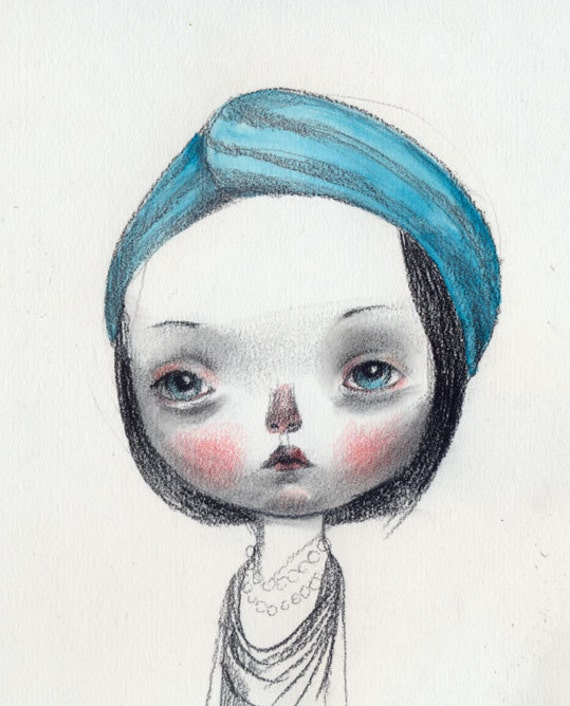 Girl with a blue turban - original drawing
