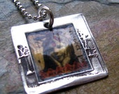 Vintage Photo Silver Necklace, PMC Artisan Jewelry