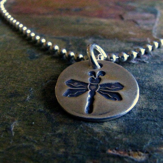 Silver Dragonfly Ankle Bracelet, PMC Fine Silver Charm, Sterling Silver Chain