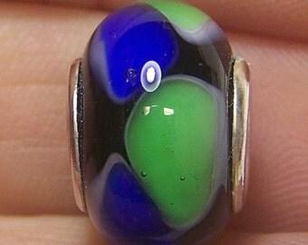 Lampwork Bead -Blue & Green Mardi Gras- ( European Style Lined Bead)