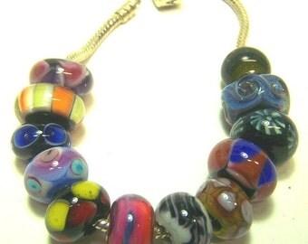 Lampwork Beads, Set 1 -Mixed Dozen Unlined- ( European Style Beads) SRA S105