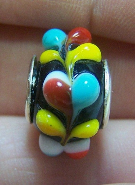 Lampwork Bead -Black Trails- ( European Style Lined Bead) SRA S105