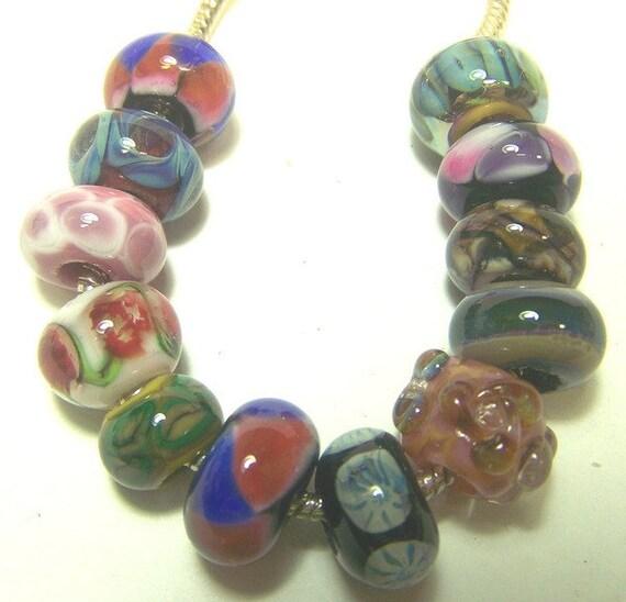 Lampwork Beads, Set 2 -Mixed Dozen Unlined- ( European Style Beads) SRA S105