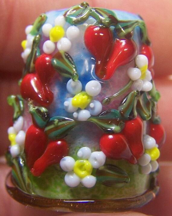 Handmade Lampwork Glass Thimble  -Strawberry Garden- SRA S105