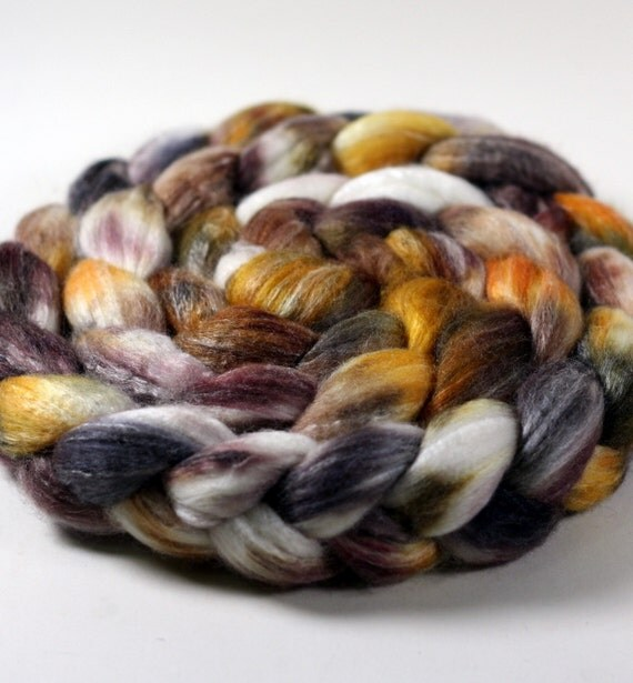 Calico - Handpainted Merino wool/Tussah silk/Bamboo blend top/roving - 4.45 oz