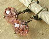 Rose Crystal Earrings Pink Bronze
