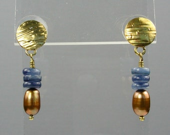 Blue and Gold Kyanite Pearl Earrings