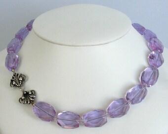 Lavender Quartz Necklace with Art Nouveau Clasp