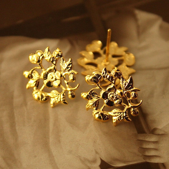 Gold Plated Earring Posts Floral -  10 pieces