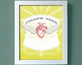 Follow Your Heart  print - large size - flying wing decorative wall poster